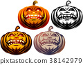 Halloween Pumpkin Cartoon Carved Eyes Mouth Icon 38142979