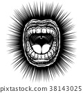 Mouth Open Scream Ink Hand Draw Vintage Monochrome 38143025