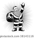 Santa Claus Character Retro Ink Drawing Pop Art 38143116