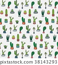 Hand Drawn Tropical Cactus Pattern.  38143293