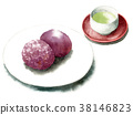 Watercolor-painted rice / botan rice and tea 38146823