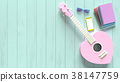 Ukulele sweet pink heart pastel color 38147759