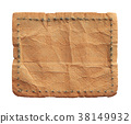 Blank leather jeans label isolated on white 38149932