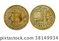 Golden bitcoin isolated on white background 38149934