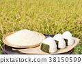 นาข้าวฤดูใบไม้ร่วงและชามข้าวลูก 38150599