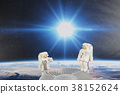 an Astronaut floating in black background  38152624