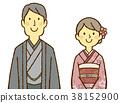 젊은 남녀 기모노 38152900