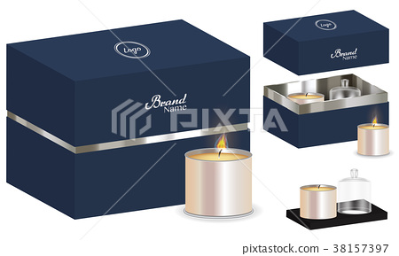 aroma candle package box design 3d mockup 38157397