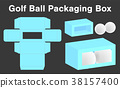 golf ball box package template 3d mockup 38157400