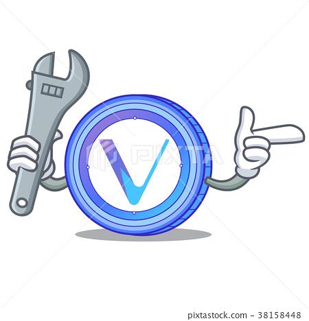 Mechanic VeChain coin mascot cartoon 38158448