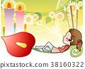 여자, 초, 촛불 38160322