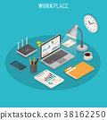 Workplace Isometric Concept 38162250