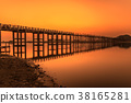 Sunset over the U Bein Bridge in Myanmar 38165281