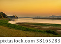 Sunset above Irrawaddy river in Bagan 38165283