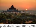 Scenic sunrise above Bagan in Myanmar 38165294