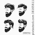 mens hairstyle with beard mustache 38165611