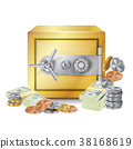Safe And Money Stacks Vector. Safe, Coins And 38168619