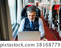 Mature businessman with laptop travelling by train 38168779