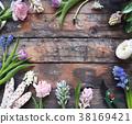 Ranunculus, tulip, geotsint flowers on background 38169421