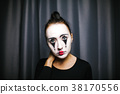 The girl with makeup of the mime. improvisation. 38170556