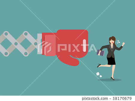 Business woman run away from big boxing glove hand 38170679