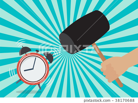 Hand handle a hammer to destroy the alarm clock 38170688