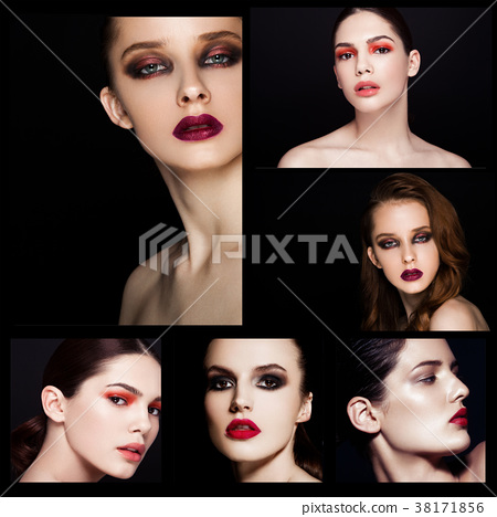 Collage beauty smokey eyes red lips makeup model 38171856