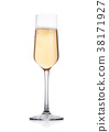 Elegant glass of yellow champagne with bubbles 38171927