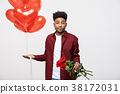 Valentine's Day: African American man holding red 38172031