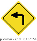 turn left on white background. turn left symbol.  38172156
