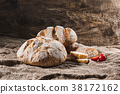 Fresh bread on table close-up 38172162