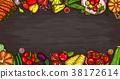 cartoon illustration of various vegetables on a 38172614