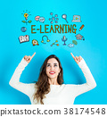 E-Learning with young woman looking upwards 38174548
