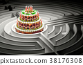 Chocolate cake with candles inside labyrinth maze 38176308