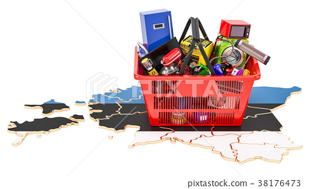 Map of Estonia with shopping basket 38176473