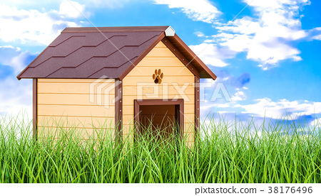 Wooden doghouse in green grass 38176496