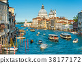 Transport traffic on the Grand Canal in Venice 38177172