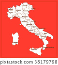 Map of Italy with red background. Italy map with 38179798