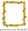 wooden frame with roots and leaf 38181852