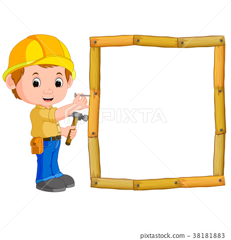Carpenter with hammer and wood frame 38181883