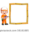 Carpenter with hand drill and wood frame 38181885