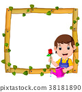 gardener on the wood frame with roots and leaf 38181890