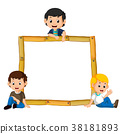 kids on the wood frame with roots and leaf 38181893