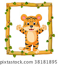 Tiger on the wood frame with roots and leaf 38181895