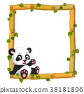 Panda on the wood frame with roots and leaf 38181896