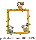Three Raccoon on the wood frame with root and leaf 38181897