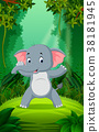 Elephant in the clear and green forest 38181945
