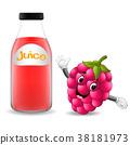 Bottle of raspberry juice with cute raspberry  38181973