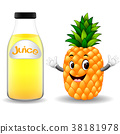 Bottle of pineapple juice with cute pineapple  38181978