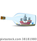 ship in the bottle on white background 38181980